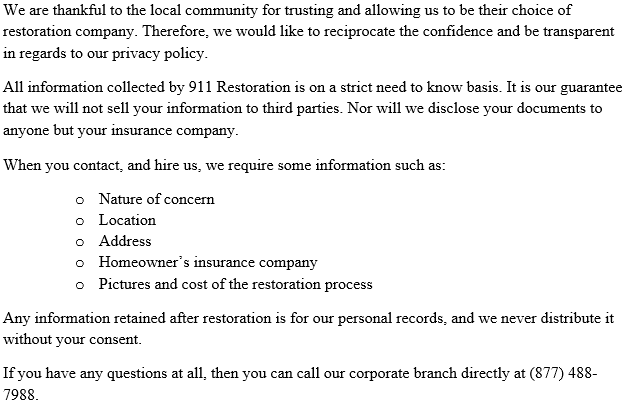 The Privacy Policy of 911 Restoration Durham